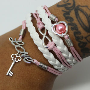 Pink and White Key Bracelet